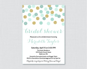Mint and Gold Bridal Shower Invitation Printable or Printed - Mint and Gold Glitter Dots Bridal Shower Invites - Gold Glitter Shower 0001-M