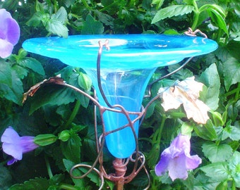 HUMMINGBIRD Feeder, stained glass, copper, Aqua, fused glass, lawn ornament, Outdoor Living