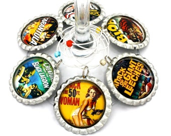 Horror movie wine charms B movie party favors scary films Hollywood drink tags. Any movie available.
