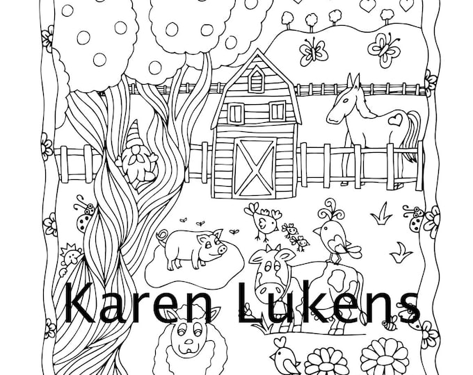 Featured listing image: Barnyard Fun, 1 Adult Coloring Book Page, Printable Instant Download