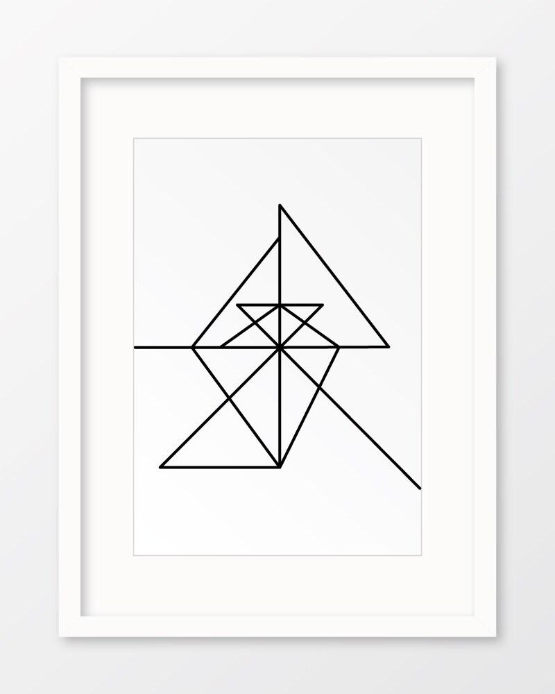 Line Art Geometric : Continuous line art geometric print