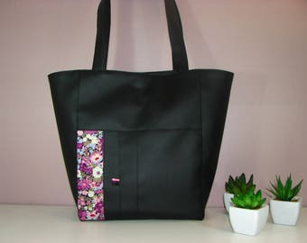 Black hand/tote bag and Liberty pink/purple flowers