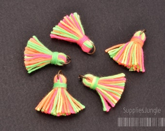T002-CO-NM// Neon Multi Cotton Tassel Pendant, 4pcs, 23mm