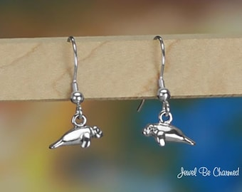 Tiny Sterling Silver Manatees Pierced Earrings Fishhook Solid .925