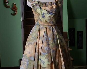 Gorgeous 1950s Chiffon Pastel Floral Party Dress