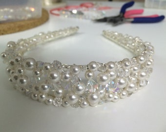 Anna Swarovski crystal and pearl crown.  Crystal and pearl bridal tiara-Wedding tiara headband-Bridal crown-Audrey Hepburn style- SALE PRICE