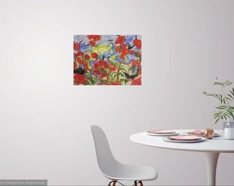 Large original abstract Raven oil painting, bird flower art, Raven flower landscape oil painting, Janice Trane Jones, wall decor, home decor
