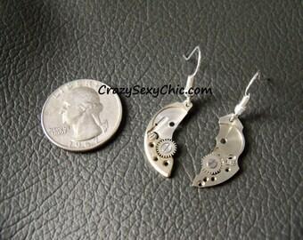 Handmade Earrings Steampunk inspired Silver tones