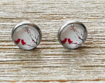 Cardinal Bird Stainless Steel Stud Earrings