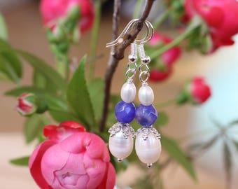 Pearl Earrings, White Pearl Earrings, Pearl and Silver Earrings,  Bridal Earrings, Fresh Water Pearl Earrings, Bridal Earrings