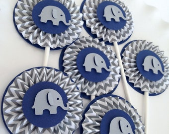 Navy and Gray Chevron Baby Elephant Rosettes Cupcake Toppers- Elephant Baby Shower Decorations..Set of 12