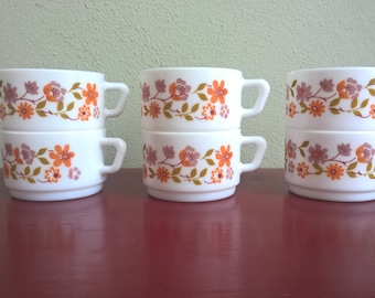 6 vintage mid-centuries Arcopal Scania cups  made in France