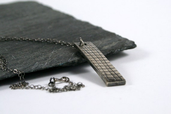 Sterling Silver Embossed Mesh Tab Necklace