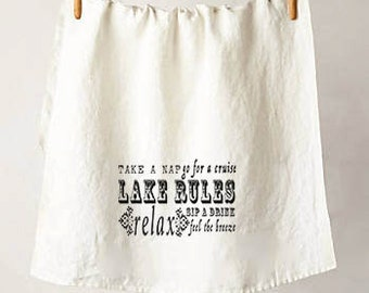 List of Lake Rules - American Flour Sack Tea Towels - Made in the USA