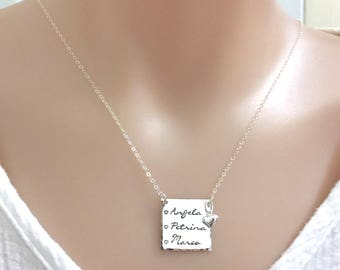 Sterling Silver Up to 3 Names Necklace, Mother Necklace, Grandma Necklace, Mother of The Bride, Nana Necklace, Gift for Mom, Mother's Day
