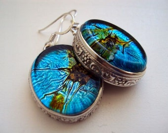 Artisan Dichroic Glass 925 Sterling Silver Dangle Earrings