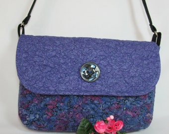 Quilted Shoulder Purse with Flap Closure - Batik Abstract Floral Purple and Blue - Medium