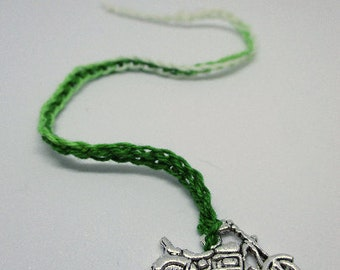 CHARM BOOKMARK--MOTORCYCLE, Crochet Bookmark, Thread Crochet Bookmark, Placeholder, Book Bling