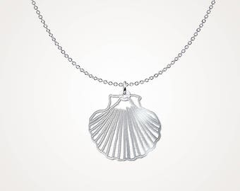Seashell Pendant Necklace - Shell Necklace .925 Sterling Silver Necklace