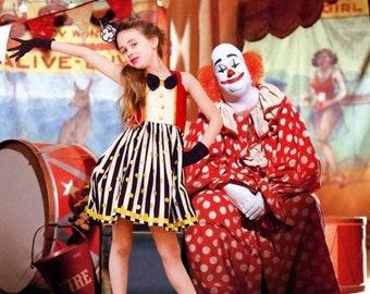 Ringmaster Dress, Circus Dress, Ringmaster Costume, Circus Dress Girls, Circus Costume Twirly Dress Girls, Circus Birthday Dress, Circus
