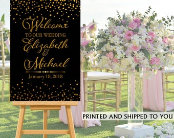 Welcome to Our Wedding Sign - Black and Gold Sparkle Bride & Groom Sign- Reception Sign Printed Wedding Ceremony Sign, Foam Board Sign