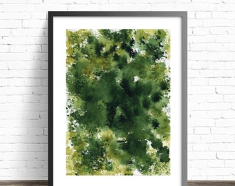 Green Watercolor Print . Abstract Nature print . Green home decor . Abstract watercolor print . Green art . Abstract green art