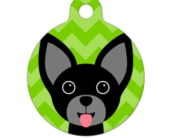 Pet ID Tag - Black Chihuahua Pet Tag, Dog Tag
