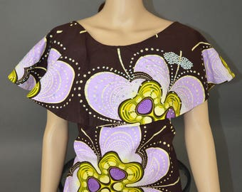 Embellished African Print Cape top - Medium