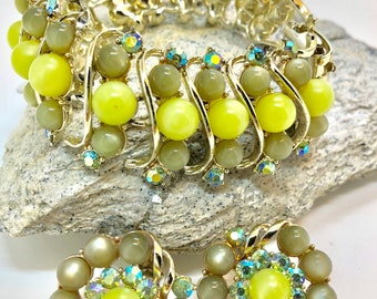 Green bead and rhinestone bracelet and earrings set by Star