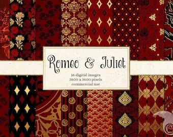Romeo and Juliet Digital Paper, Renaissance paper, renaissance backgrounds, red, black and gold rose scrapbook paper, damask pattern