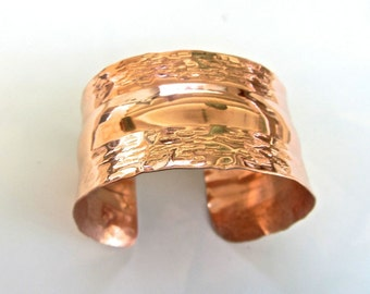 1  1/2 inches (39mm) wide ~ Large solid copper hammered cuff bracelet ~ bold ~ wear copper for your health