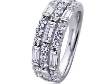 7mm Platinum Plated Sterling Silve Baguette CZ Wedding Engagement Ring set(HBHB15R0588A)