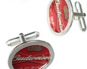 Budweiser Bottle Cap Cufflinks / Sterling Silver