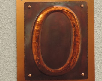 Copper Front Door Number, rustic copper signs, Copper sign, made to order