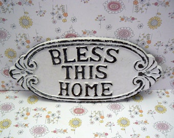 Bless This Home Oval Cast Iron Welcome Greeting Sign Classic White Wall Entryway Door Decor Plaque Shabby Elegance New House Warming Gift