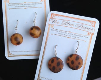 Leopard/Cheetah print hanging silver plated earrings - choice of two designs