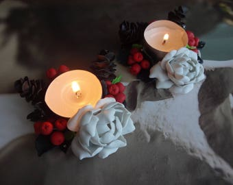 Cristmas candleholders polymer clay