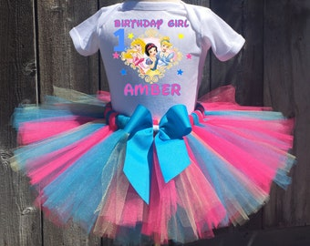 Disney Princess Birthday Outfit, Disney Princess First Birthday Outfit, Custom Disney Princess Birthday Tutu Set, Disney Princess Shirt