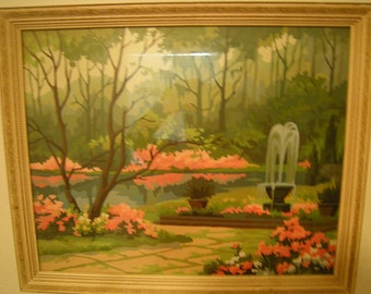 vtge paint by number painting-idyllic painting-ivory frame-signed in 1961-garden and fountain-home and living-wall decor-wall hanging-