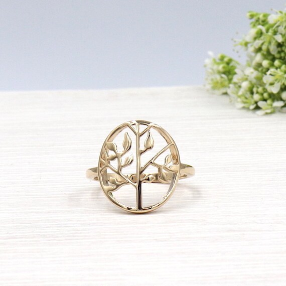 women gold plated tree of life ring