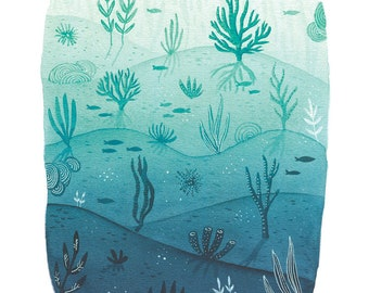 underwater painting, ocean fine art print, high quality print, green blue wall art, archival art print, A4 giclee art print