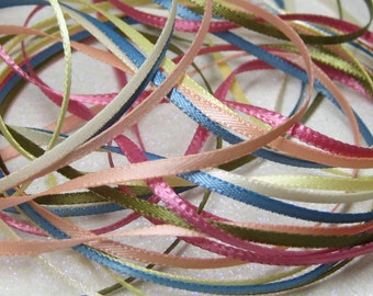 ribbon BY THE YARD 1.6mm to 2mm narrow 1/16 inch satin flat double sided thin miniature dollhouse size peach blue yellow rose cream sage