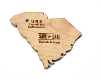 State Save the Date Wood Magnet: perfect for destination wedding, new york, california, or any state (or country!)