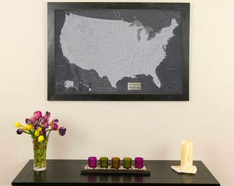 Personalized executive world travel map with pins and frame personalized stormy dreams usa travel map with pins and frame push pin travel map gumiabroncs Image collections