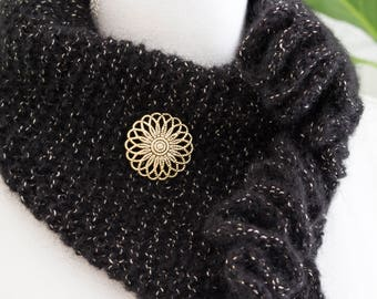 Black and Gold Cowl Scarf