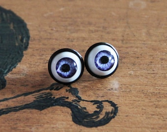 Doll Eyes 12mm purple, yellow, pink or blue earrings