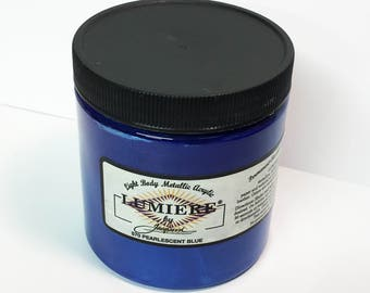 Lumiere Pearlescent Blue 570 - 8 oz Size - Brilliant Light Body Metallic Acrylic Paint - Art Craft Fabric Canvas Wood Paper Pearl Finish