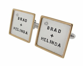 Men's Rimmed Square Silver Cufflinks with Diamonds Personalized Mixed Metal Jewelry Hand Stamped Names Custom Engraved Artisan Handmade