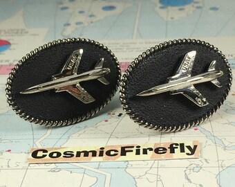 Men's Vintage Cufflinks USAF Jet Fighter Plane Steampunk Cufflinks Men's Cufflinks Antique Cufflinks Big Cufflinks Oval Cufflinks