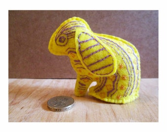 Mothers Day Gift, Bunny Rabbit, Felt Animal Ornament, Bespoke Gifts, Unique Gifts, Yellow Felt Animals, Animal Lover Gifts, Easter, For Her